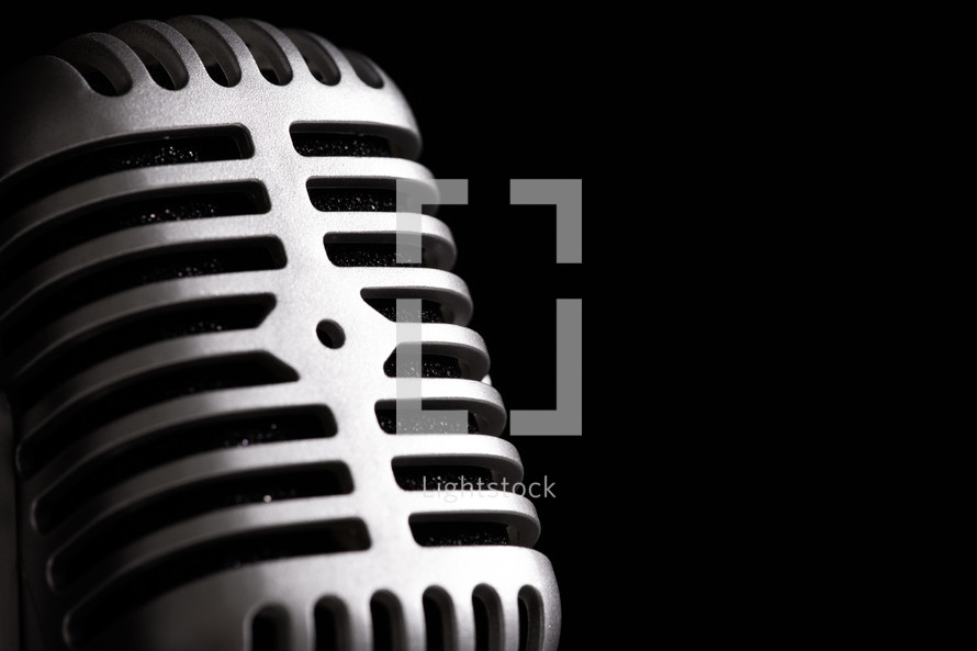 Closeup of retro microphone.