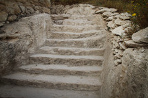 Stairs carved in stone in Meggido, Israel