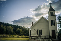 a small white rural church