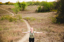 hill, walking, woman, path, outdoors, trail, open arms