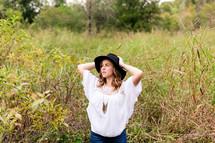hat, woman, linen shirt, portrait, outdoors