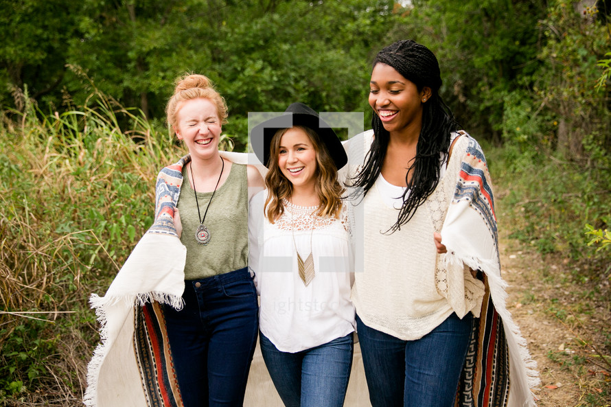 wrapped, blanket, woman, african american, laughing, friends, friendship