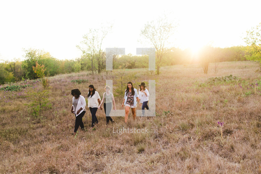 friends, friendship, African American, woman, standing, together, outdoors, young women