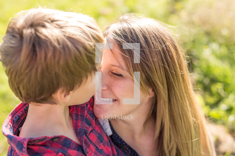 a tender moment between a mother and son