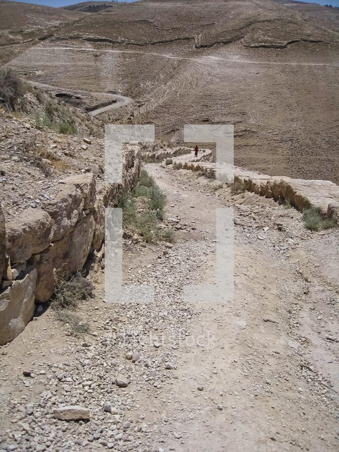 dirt road and desert landscape in Jordan
