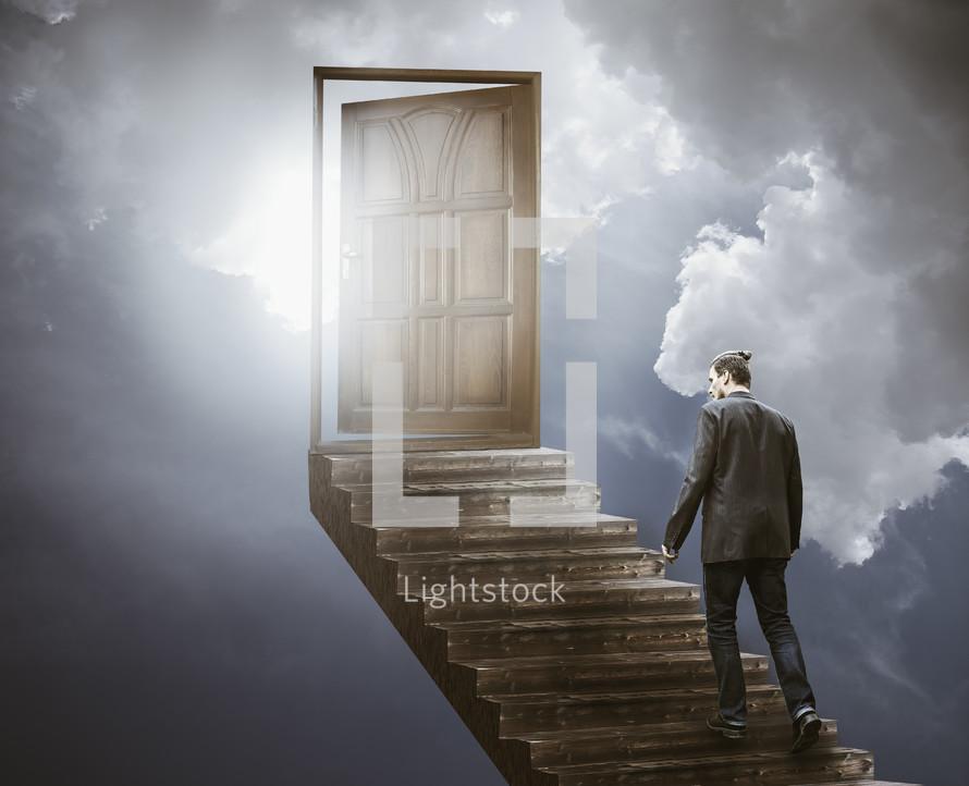 a man walking on steps to heaven