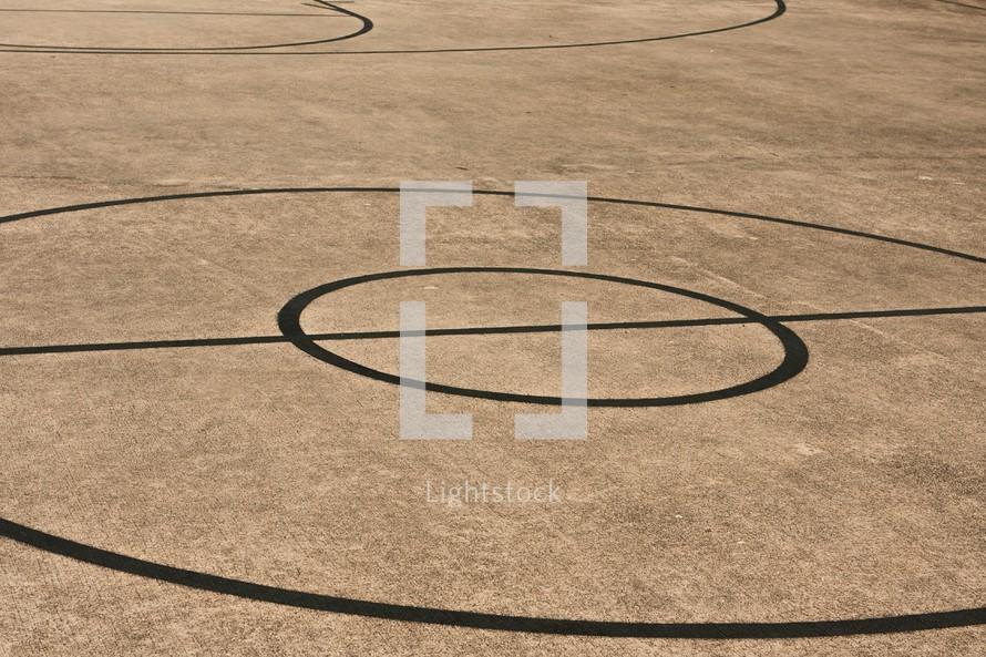 half court on a basketball court