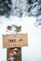 trail sign in snow