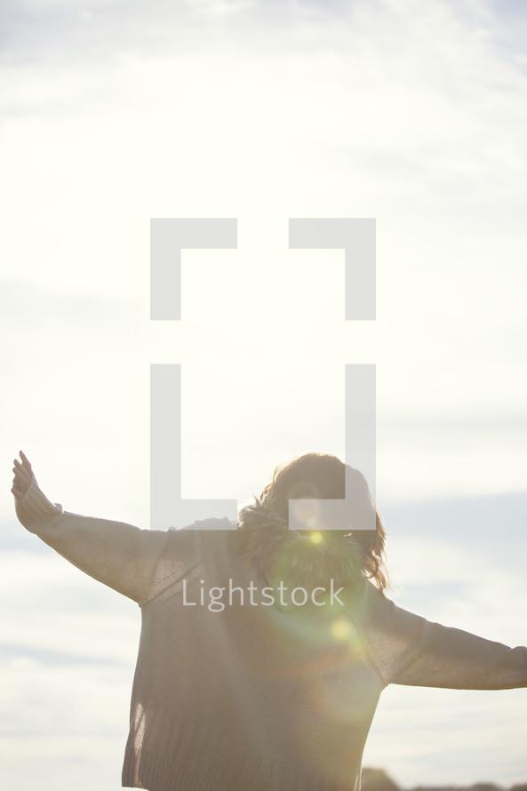 woman under intense sunlight