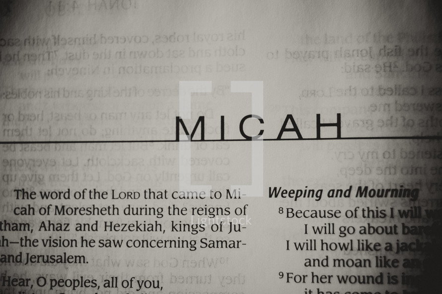 Open Bible in book of Micah