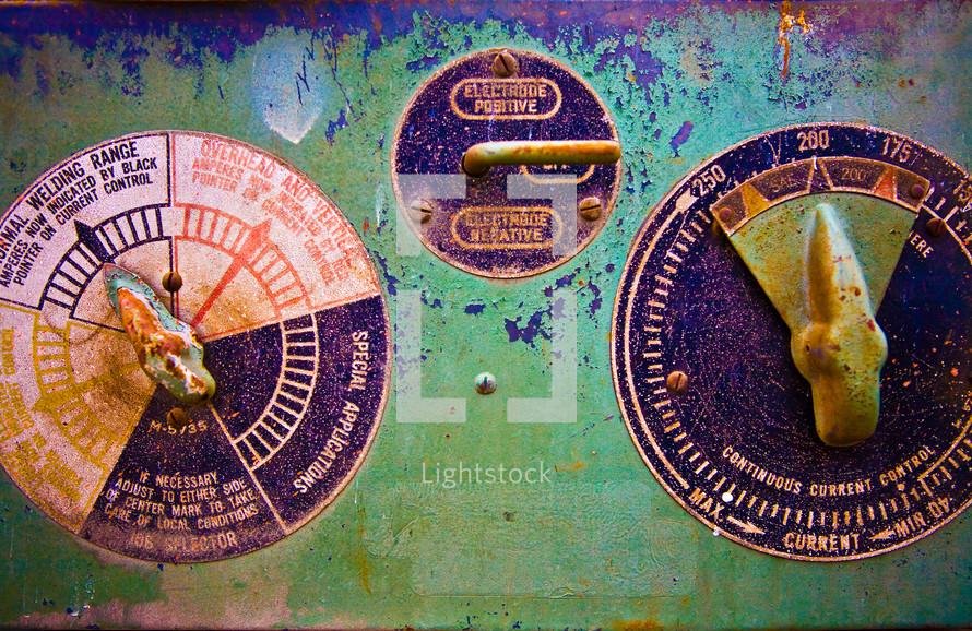 Welder temperature gauge panel industrial steel metal rust