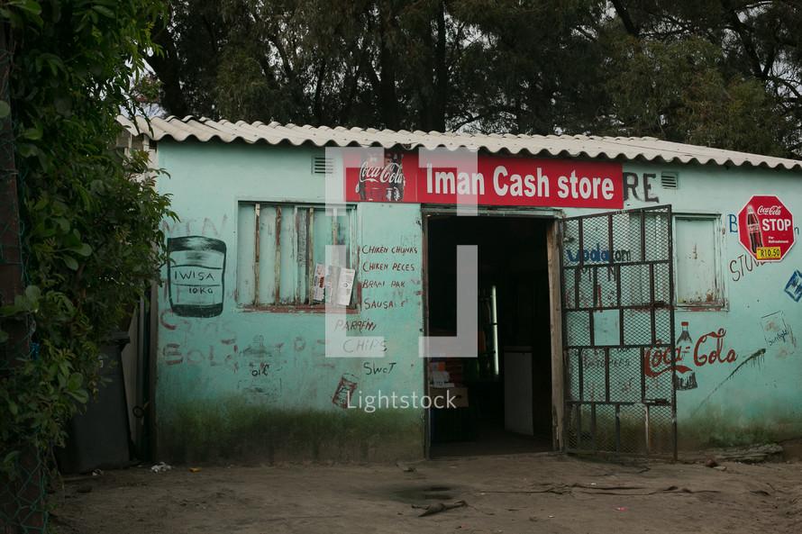 Rundown store in a village