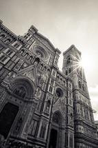 sunburst over a cathedral