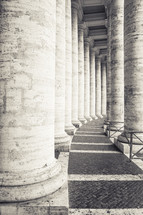 columns, curve, marble, ancient, historic, building, covered walkway
