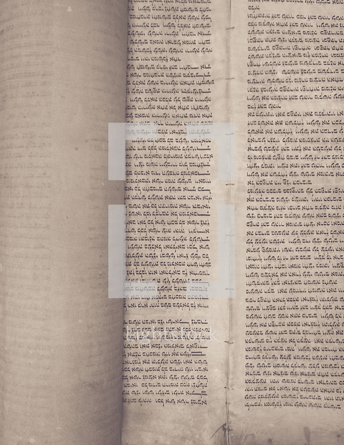 A Jewish scroll showing Hebrew text from Exodus 20