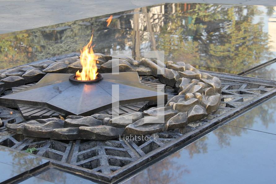 Memorial flame.
