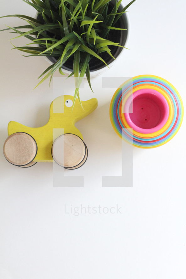 houseplant and toddler toys