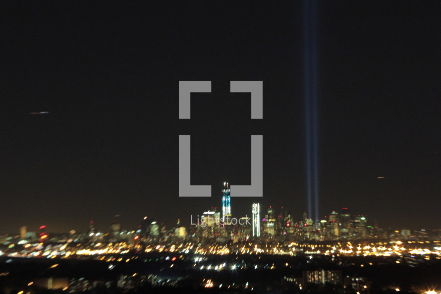 twin towers memorial lights