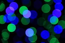 Blue and green Christmas lights - bokeh style