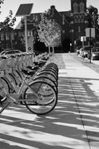 bikes parked on a bike rack