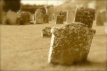 tombstones in a graveyard