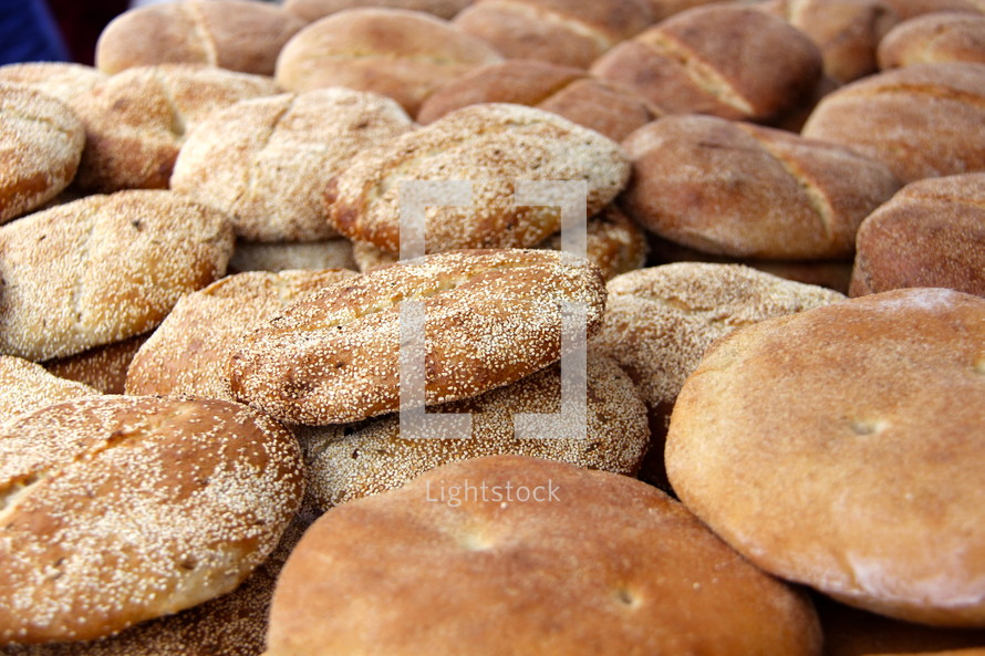 Pile of baked bread in an Arab Market
