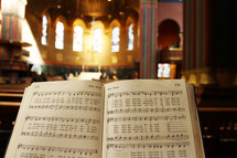 Hymnal opened in a church