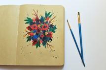 painting in a sketchbook