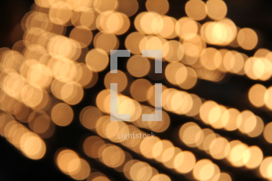 Lines of blurred bokeh lights.