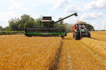Combine and tractor harvesting a field of wheat