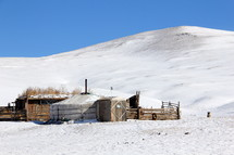 Isolated Mongolian village with traditional Ger house