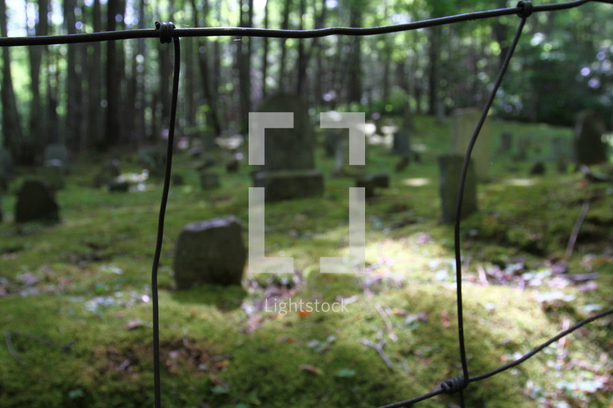 A cemetery seen through an old wire fence.
