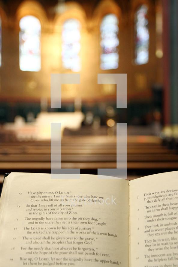 open Bible on a church altar