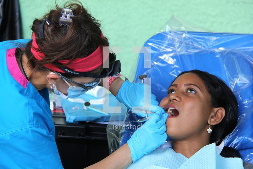 dentist working on a child