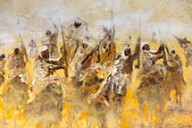 Painting of Toureg desert warriors riding to war on horses and camels.