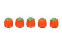 row of candy corn pumpkins