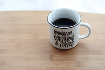 coffee mug, running on God's grace and coffee