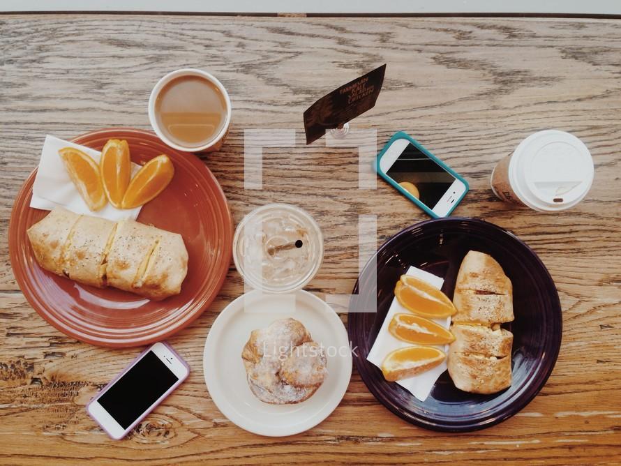 bread and oranges