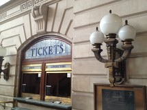Ticket window at a subway station.