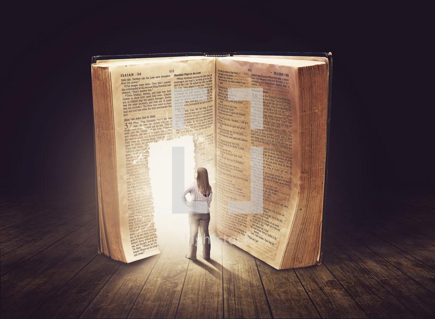 woman entering an open door in a Bible