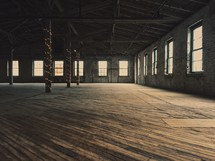 an empty warehouse building