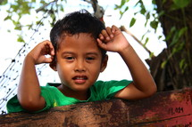 Face of a young Micronesian boy child