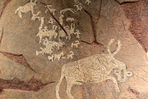 Primitive etchings on a rock.