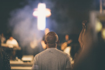 musicians on stage at a worship service