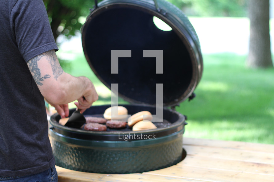 grilling hamburgers