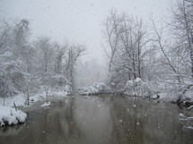 snow and pond