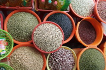 seeds and grains in a market