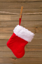 Christmas stocking on a clothesline