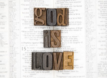 words god is love on the pages of a Bible
