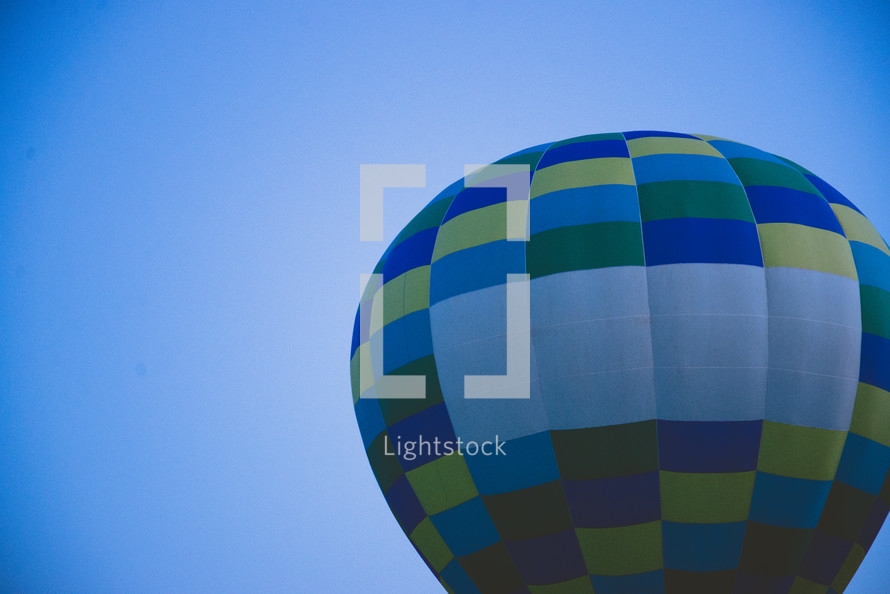 hot air balloon in a blue sky